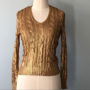 Ralph Lauren Metallic Gold Cable Knit Sweater